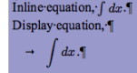 Equations example in Writer